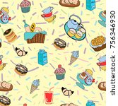 pattern with funny cartoon... | Shutterstock .eps vector #756346930