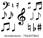music note icons vector set ... | Shutterstock .eps vector #756347863