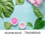 spa background  flat lay layout ... | Shutterstock . vector #756348343