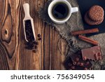 coffee cup and cookie on wood | Shutterstock . vector #756349054