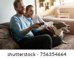 beautiful couple watching... | Shutterstock . vector #756354664