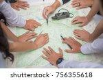 hands on map in science... | Shutterstock . vector #756355618