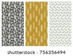 set of vector seamless floral... | Shutterstock .eps vector #756356494