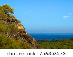sea view from top of rocky hill ... | Shutterstock . vector #756358573