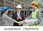 engineering team are shaking... | Shutterstock . vector #756359470