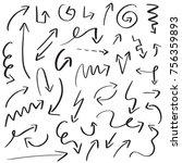 set of handdrawn arrow doodle... | Shutterstock .eps vector #756359893