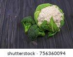 fresh cauliflower and broccoli... | Shutterstock . vector #756360094
