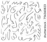 set of handdrawn arrow doodle...   Shutterstock .eps vector #756360823