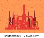 deindustrialization and end of... | Shutterstock .eps vector #756364294