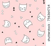 cute cat vector pattern with... | Shutterstock .eps vector #756364714