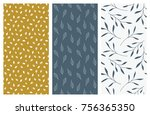 set of vector seamless floral... | Shutterstock .eps vector #756365350