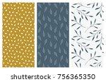 set of vector seamless floral... | Shutterstock .eps vector #756365350