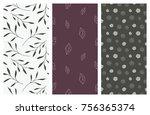 set of vector seamless floral... | Shutterstock .eps vector #756365374
