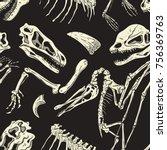 monochrome dinosaurs fossil... | Shutterstock .eps vector #756369763
