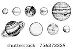 planets in solar system. moon... | Shutterstock .eps vector #756373339