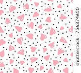vector cute and simple pattern... | Shutterstock .eps vector #756374650