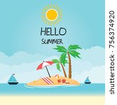 hello summer background | Shutterstock .eps vector #756374920