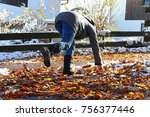 risk of slipping in autumn and... | Shutterstock . vector #756377446