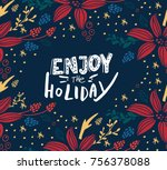 christmas card with fir tree | Shutterstock .eps vector #756378088
