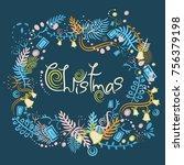christmas wreath decorating... | Shutterstock .eps vector #756379198