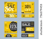 set of colorful trendy sale... | Shutterstock .eps vector #756379453