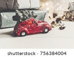 modern christmas ornaments and... | Shutterstock . vector #756384004