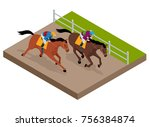 isometric galloping race horses ... | Shutterstock .eps vector #756384874