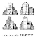 hand drawn downtown city... | Shutterstock .eps vector #756389398
