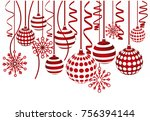 christmas balls and snowflakes... | Shutterstock .eps vector #756394144