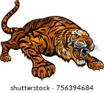 tigers face. saber toothed...   Shutterstock . vector #756394684