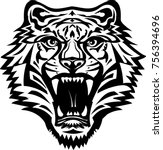 tigers face. saber toothed... | Shutterstock . vector #756394696