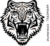 tigers face. saber toothed... | Shutterstock . vector #756394699