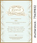 vintage invitation card or... | Shutterstock .eps vector #75639832