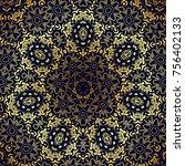 flower mandalas. vintage... | Shutterstock . vector #756402133