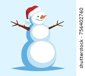 funny cartoon snowman in a red... | Shutterstock .eps vector #756402760