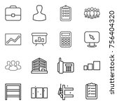 thin line icon set   portfolio  ... | Shutterstock .eps vector #756404320