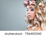 cute woman with pink roses... | Shutterstock . vector #756405340