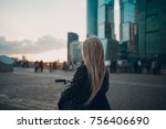 disabled female in the city | Shutterstock . vector #756406690