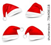 christmas santa claus hats with ... | Shutterstock .eps vector #756408118