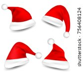 christmas santa claus hats with ... | Shutterstock .eps vector #756408124