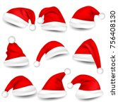 christmas santa claus hats with ... | Shutterstock .eps vector #756408130