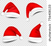 christmas santa claus hats with ... | Shutterstock .eps vector #756408133