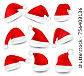 christmas santa claus hats with ... | Shutterstock .eps vector #756408136