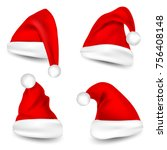 christmas santa claus hats with ... | Shutterstock .eps vector #756408148