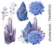 watercolor set with gemstones... | Shutterstock . vector #756409510