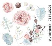 watercolor set of  botanical... | Shutterstock . vector #756410203