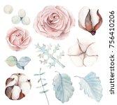 watercolor set of  botanical... | Shutterstock . vector #756410206