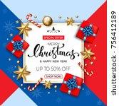 merry christmas sale banner...   Shutterstock .eps vector #756412189