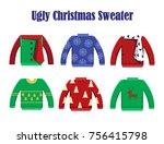 illustration vector christmas... | Shutterstock .eps vector #756415798