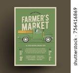 farmer's market flyer poster... | Shutterstock .eps vector #756416869